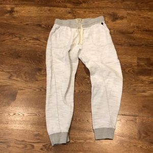 White and gray embroidered joggers